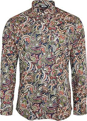 c0d634efedc Relco Mens Navy Blue Paisley Long Sleeved Button Down Vintage Shirt Mod 60 s