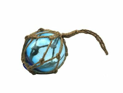 """Light Blue Japanese Glass Ball Fishing Float With Brown Netting Decoration 3""""- G"""