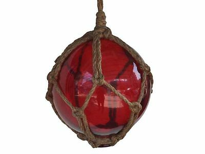 """Red Japanese Glass Ball Fishing Float With Brown Netting Decoration 6""""- Glass Fl"""