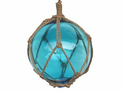 """Light Blue Japanese Glass Ball Fishing Float With Brown Netting Decoration 8""""- G"""