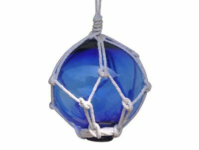 """Blue Japanese Glass Ball Fishing Float With White Netting Decoration 3""""- Glass F"""