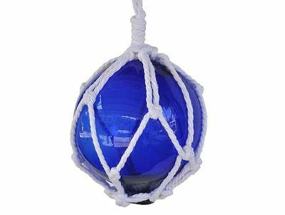 """Blue Japanese Glass Ball Fishing Float With White Netting Decoration 6""""- Glass F"""