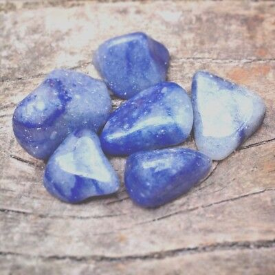 6 Blue Quartz tumblestones 20 - 30mm. Polished Healing Crystal Gemstones