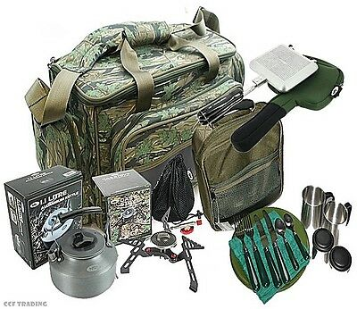 Gas Stove & Kettle Toastie Maker Deluxe Cutlery Set ,Cooking Set + Camo Carryall