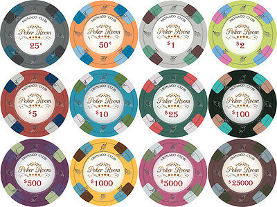 NEW 500 PC Monaco Club 13.5 Gram Clay Poker Chips Bulk Lot Mix or Match Chips