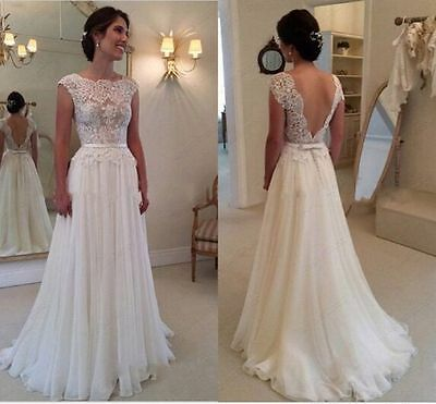 Stock New White/Ivory backless lace Wedding Dress Bridal Gown size 6-16