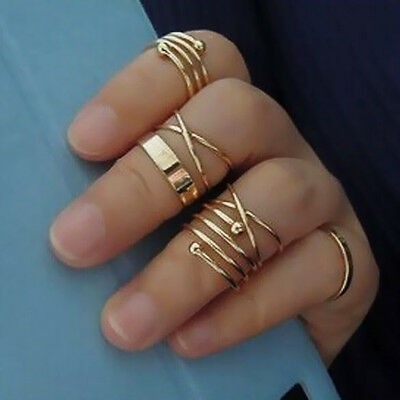 Fashion 6Pcs/Set Midi Above Knuckle Ring Band Gold Plated Tip Finger Stacking
