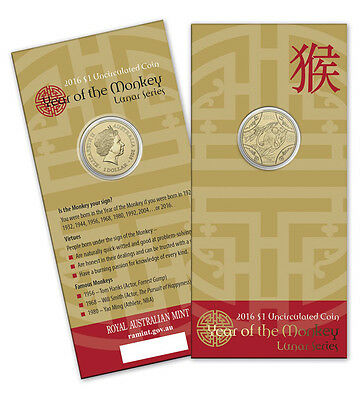 2016 Lunar New Year : Year of the Monkey $1 Uncirculated Coin