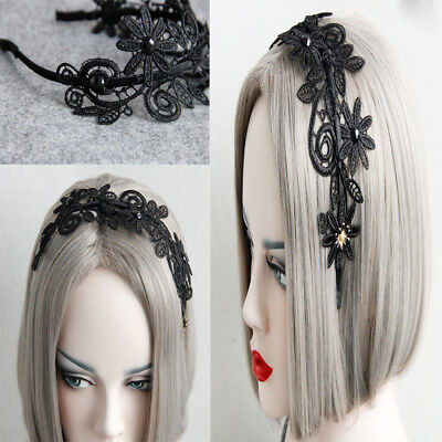 Ladies Vintage Handmade Lace Flower Simple Headband Gothic Hairband Headpiece