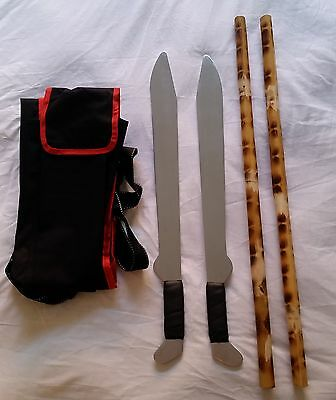 Escrima Arnis Filipino Kali Aluminium Training Swords Rattan Stick Bag Package