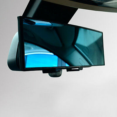 300mm Wide Anti-Glare Blue Tint Curved Surface Rear View Mirror Fit All Car OK