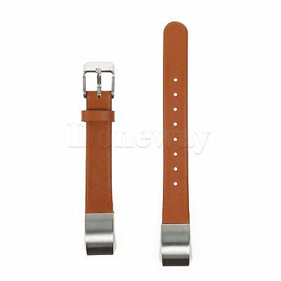 Brown Genuine Leather Replacement Strap Wrist Watch Band For Fitbit Alta Tracker
