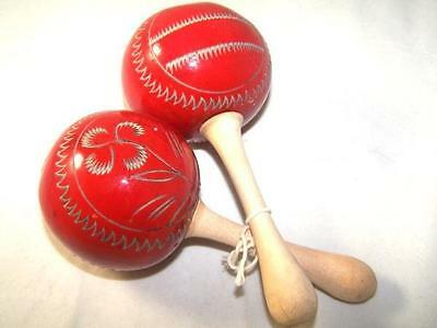 Maracas Percussion Musical Instrument Party Costume Wood Handmade Shakers Red