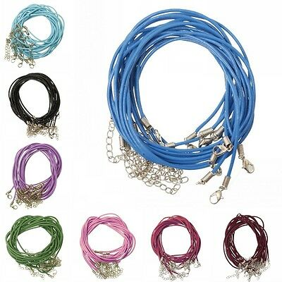 10/100pcs Black Leather Cord Necklace with Lobster Clasp For Jewelry DIY 2mm New