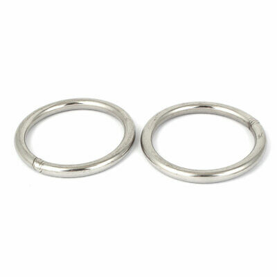 100mm x M10 201 Stainless Steel Webbing Strapping Welded O Rings 2pcs