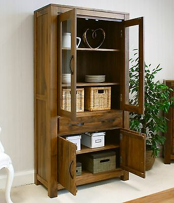 Linea solid walnut home furniture large glazed bookcase display cabinet