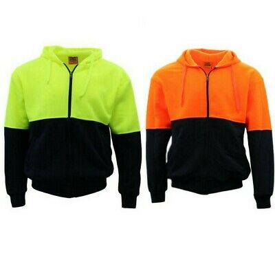 Hi-Vis Hooded Safety Workwear Fleece-lined Fleecy Full Zip Jumper Hoodie Jacket