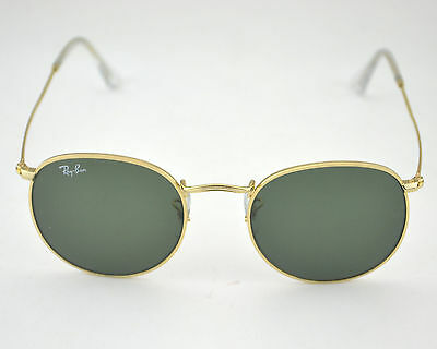 new ray ban rb3447 round metal 001 gold frame green classic g 15