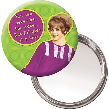 Button Compact Mirror You Can Never Be Too Cute Retro Humour 1950s Gift Idea