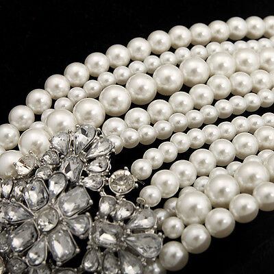 FP Multi-Pearls Crystal Pendant Necklace Fashion Chunky Statement Choker Charm