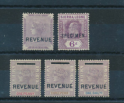 03807) Sierra Leone, 5 stamps with Overprint SPECIMEN/REVENUE !