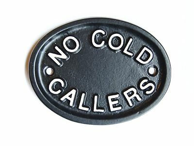 NO COLD CALLERS STOP SALES SALESMEN CAST SIGN BLACK ANTIQUE VINTAGE - DOOR-22-bl