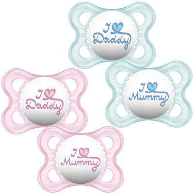 "Mam Soother Style 0+ Months "" I Love Mummy"", ""i Love Daddy"""