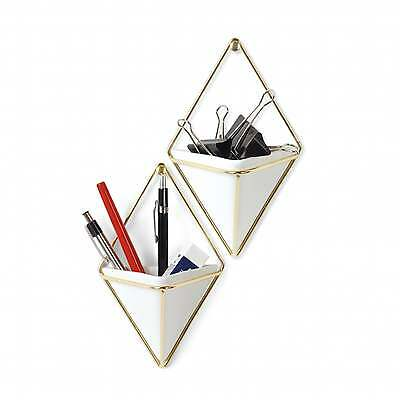 Umbra Trigg Wall Containers - White/Brass - Set of 2