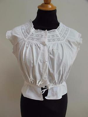 ANTIQUE VICTORIAN EMBROIDERED WHITEWORK CORSET COVER CAMISOLE c1890