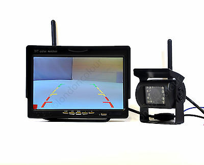 "Wireless Reversing Camera + 7"" LCD Colour Monitor 2.4GHz for VAN TRUCK 12V-24V"