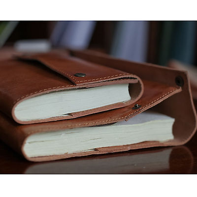 A6 Handmade Leather Bound Notebook Travel Sketchbook Blank Book Diary Journal SA