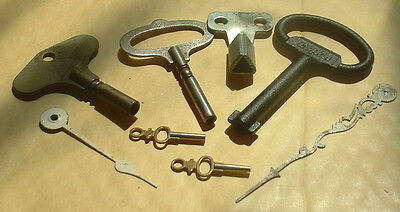 Vintage Clock Keys And Hands Etc