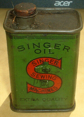 Very Rare Early Singer Sewing Machine Oil Tin
