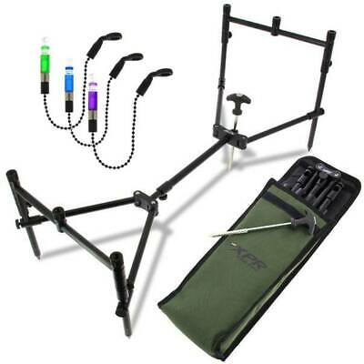 Rod Pod Carp Fishing Low Cross Pod With Bobbins & Deluxe Case Ngt