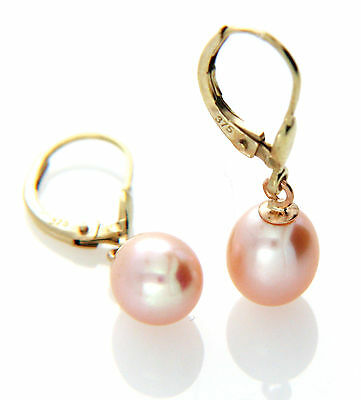 Hallmarked 9ct 9k Gold Cultured 7-8mm Pink Freshwater Pearl Leverback Earrings