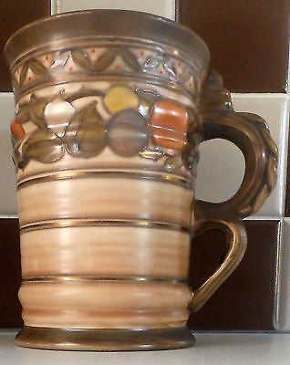 Interesting Large Charlotte Rhead Mexico Handle Fruit Border Jug Crown Ducal