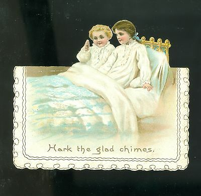 c1885 Victorian Diecut Embossed Christmas Card Little Girls In Bed