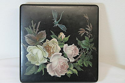 Laquer Laquerware Box with Dragonfly and Roses