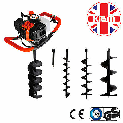 52cc Petrol Earth Auger Post Hole Borer Ground 3 Drill Bits & Extension