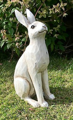 Beautiful Country Cream Rustic Effect  Hare / Rabbit Sculpture Ornament NEW