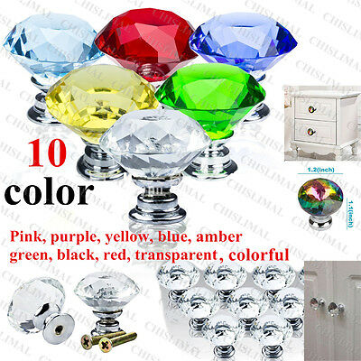 30mm Crystal Diamond Drawer Door Knob Handle w/ Screws Home Glass Cabinet Decor