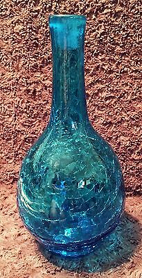 "Crackle Glass Large Deep Blue Handblown Vase 11"" Vintage"