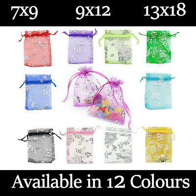 Butterfly Organza Gift Wedding Favour Bag Jewellery Pouch 12 Colour & 3 Size