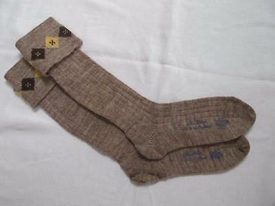 VINTAGE 1940's WW2 ERA CC41 UTILITY MARK BROWN BOY'S SCHOOL EVACUEE SOCKS - 7½""