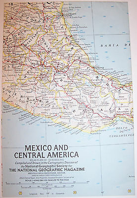 """Vintage 1961 National Geographic Map-MEXICO & CENTRAL AMERICA-25"""" w x 19"""" t"""