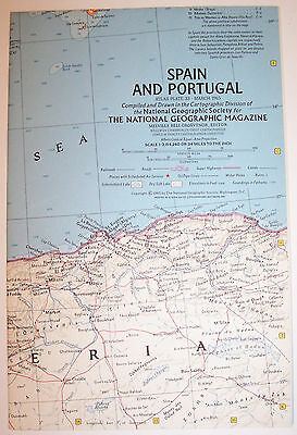 "Vintage 1965 National Geographic Map-SPAIN & PORTUGAL-25"" w x 19"" t-Great Cond"