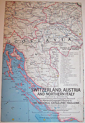 "Vintage 1965 National Geographic Map-SWITZERLAND-ALPS-AUSTRIA-ITALY-25"" x 19"""