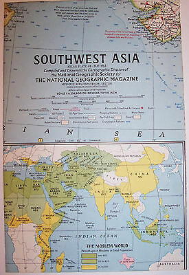 """Vintage 1963 Southwest ASIA National Geographic Map-25"""" w x 19"""" t-GREAT Cond"""