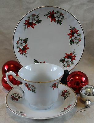 Christmas China 3pcs Tea Cup and Saucer Set Poinsettia Holly Crown Imperial