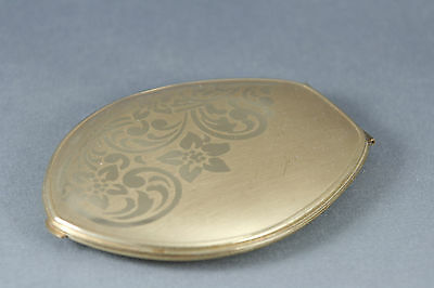 Elgin American Beauty Tulip Oval Compact Gold Tone Floral Scroll Design